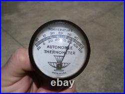 1950s Antique Auto Automobile Thermometer Visor pin Vintage Chevy Rat Hot Rod