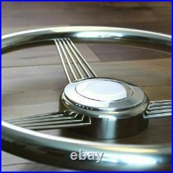 Banjo Lenkrad Edelstahl Poliert 14 Zoll Classic Vintage Chevrolet Ford Hot Rod