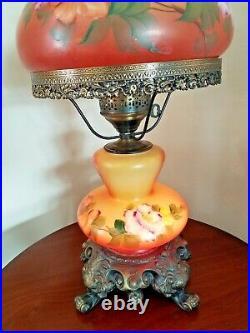 Outstanding Vintage HP Floral Hurricane Parlor Lamp