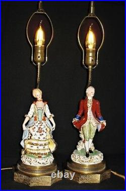 VINTAGE HP PORCELAIN COURT FIGURAL TABLE VANITY LAMPS witho SHADES ELECTRIC BRASS