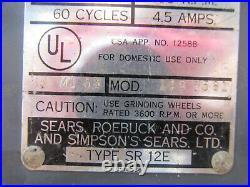 Vintage 1950's Craftsman HD 1/4hp 6 Bench Grinder Runs Great Sounds Great
