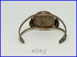 Vintage 1978 Navajo Turquoise Bracelet Men's Sterling Silver Cuff Signed