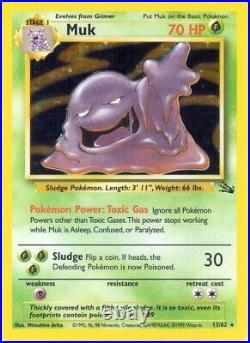 Vintage 1999 Pokemon Muk Card 70 HP Stage 1 Foil Holo 13/62 LV. 34 #89 FREE SHIP