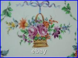 Vintage Carl Thieme Dresden Porcelain HP Reticulated Tray w Flower Basket 12 1/4