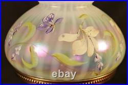 Vintage FENTON STARGAZER LILIES OPALESCENT PEARL Lamp 17 HP BY H. CRONIN