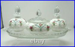 Vintage Fenton Dresser Set 7pcs. Beaded Melon HP Roses Aqua On White Crystal