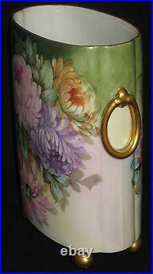 Vintage Guerin Limoges Porcelain HP Cachepot Vase Desk