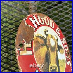 Vintage HP Hood & Son Milk Porcelain Sign Dairy Farm Cow Oil Gas Tractor Ranch