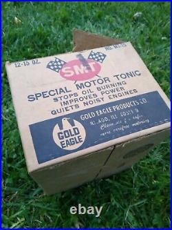 Vintage NOS FULL CASE Gold Eagle SMT SPECIAL MOTOR TONIC RARE OIL CANS MAN CAVE