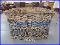 Vintage Old Industrial Mill Wicker Basket H. P. Bolton FREE DELIVERY