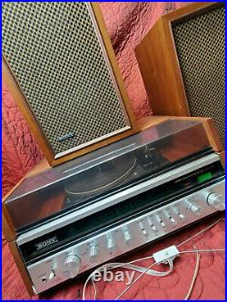 Vintage Sony HP-610A Solid State Wood Turntable AM FM Tuner Radio & Speakers